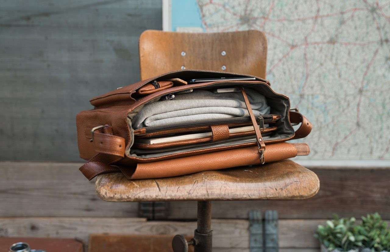 """Top view of the 13"""" soft leather satchel briefcase."""