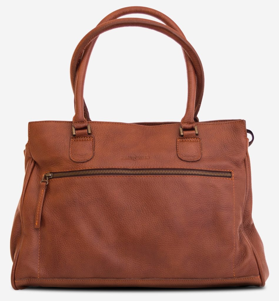 Front view of the woman soft leather handbag for student.