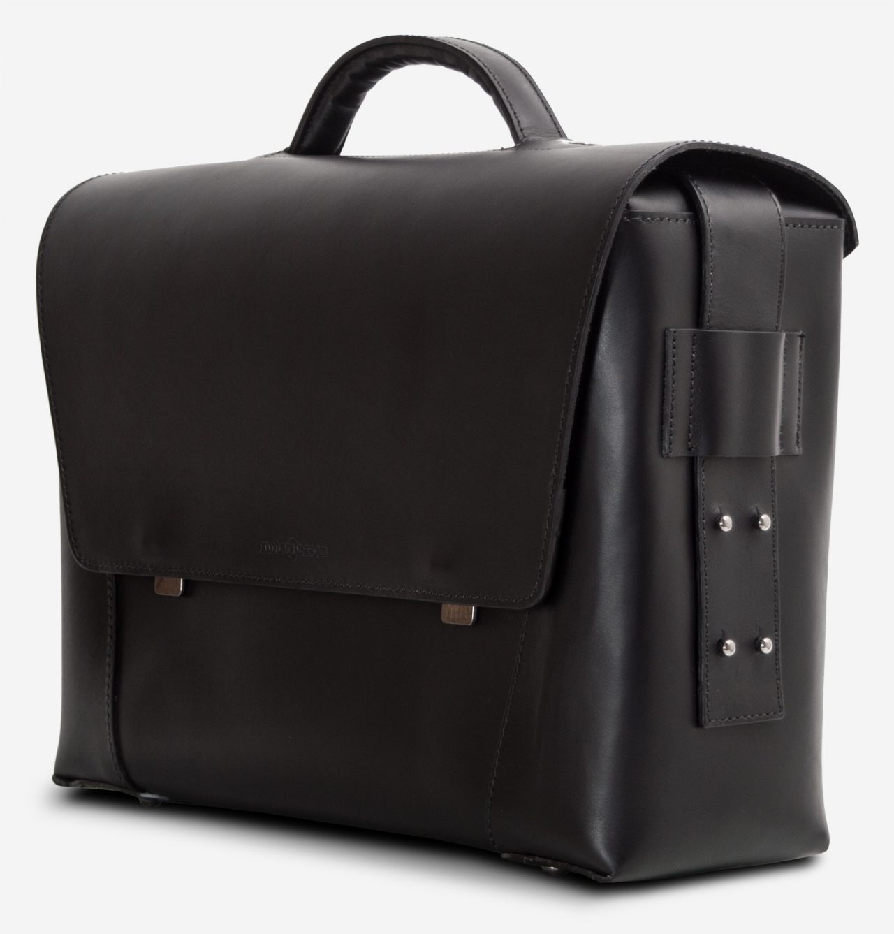 Side view of the large black vegetable-tanned leather briefcase bag with laptop pocket.