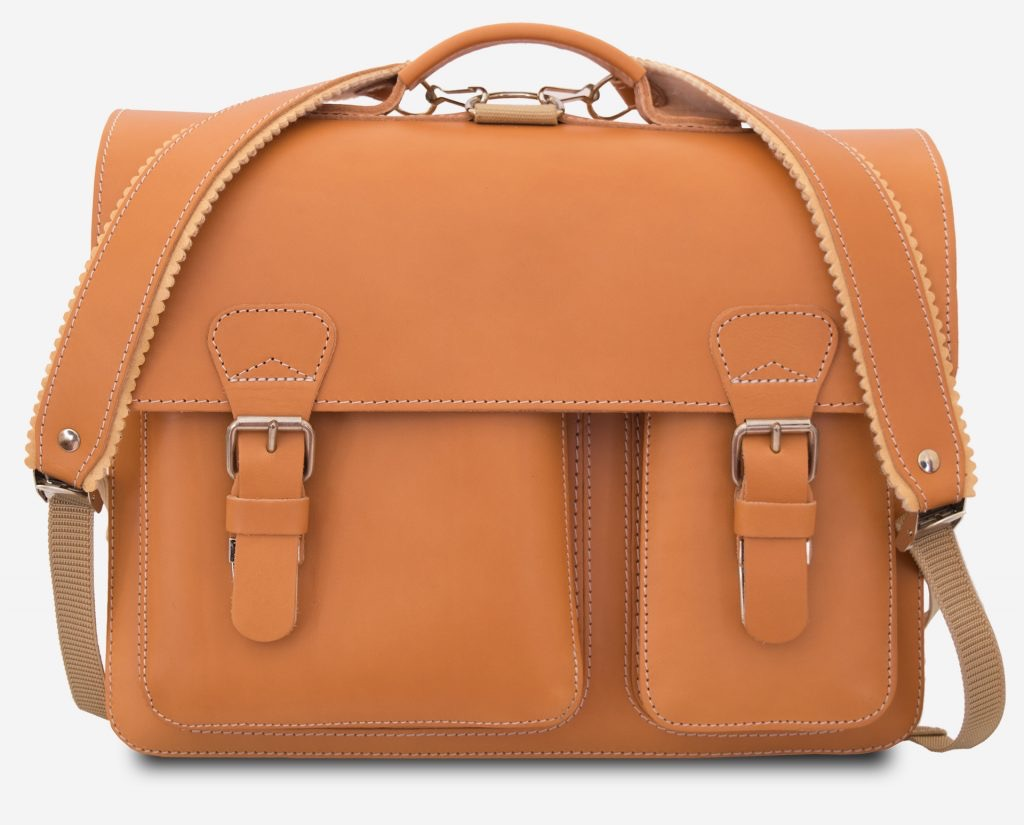 Front view of Ruitertassen tan leather satchel backpack with shoulder straps.
