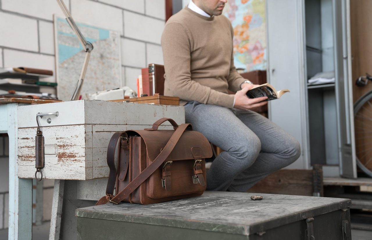 Professor in his office with his Ruitertassen vintage brown leather satchel briefcase.