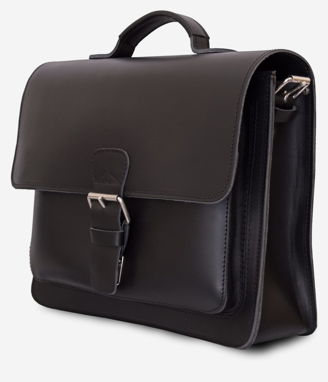 Side view of black leather briefcase with 1 compartment and large front pocket 112141.