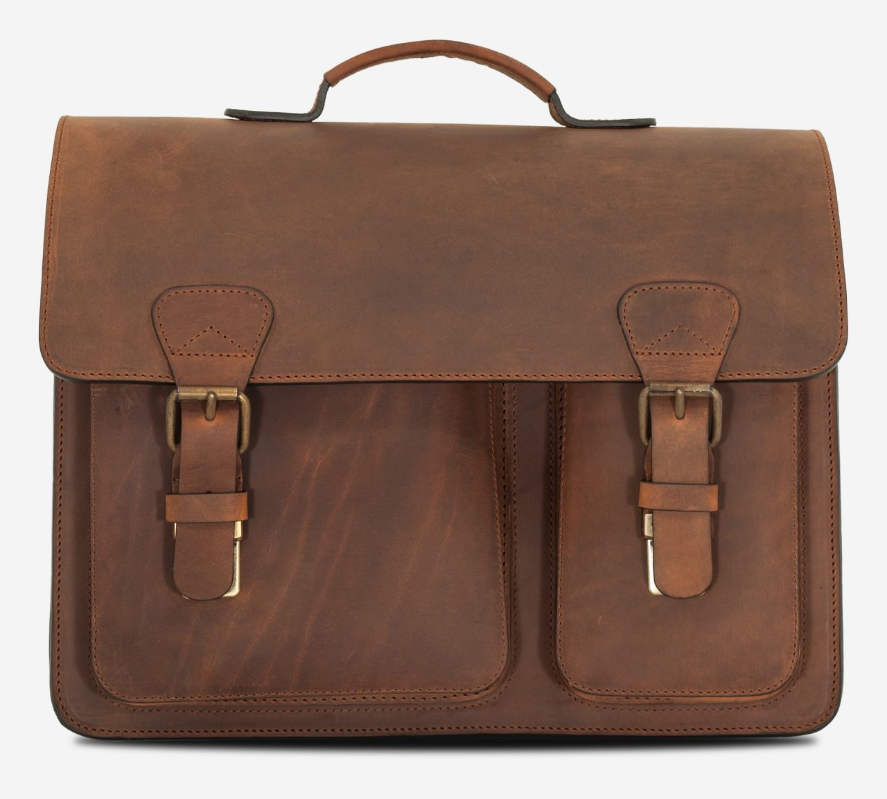 Front view of brown leather satchel briefcase with asymmetric front pockets.