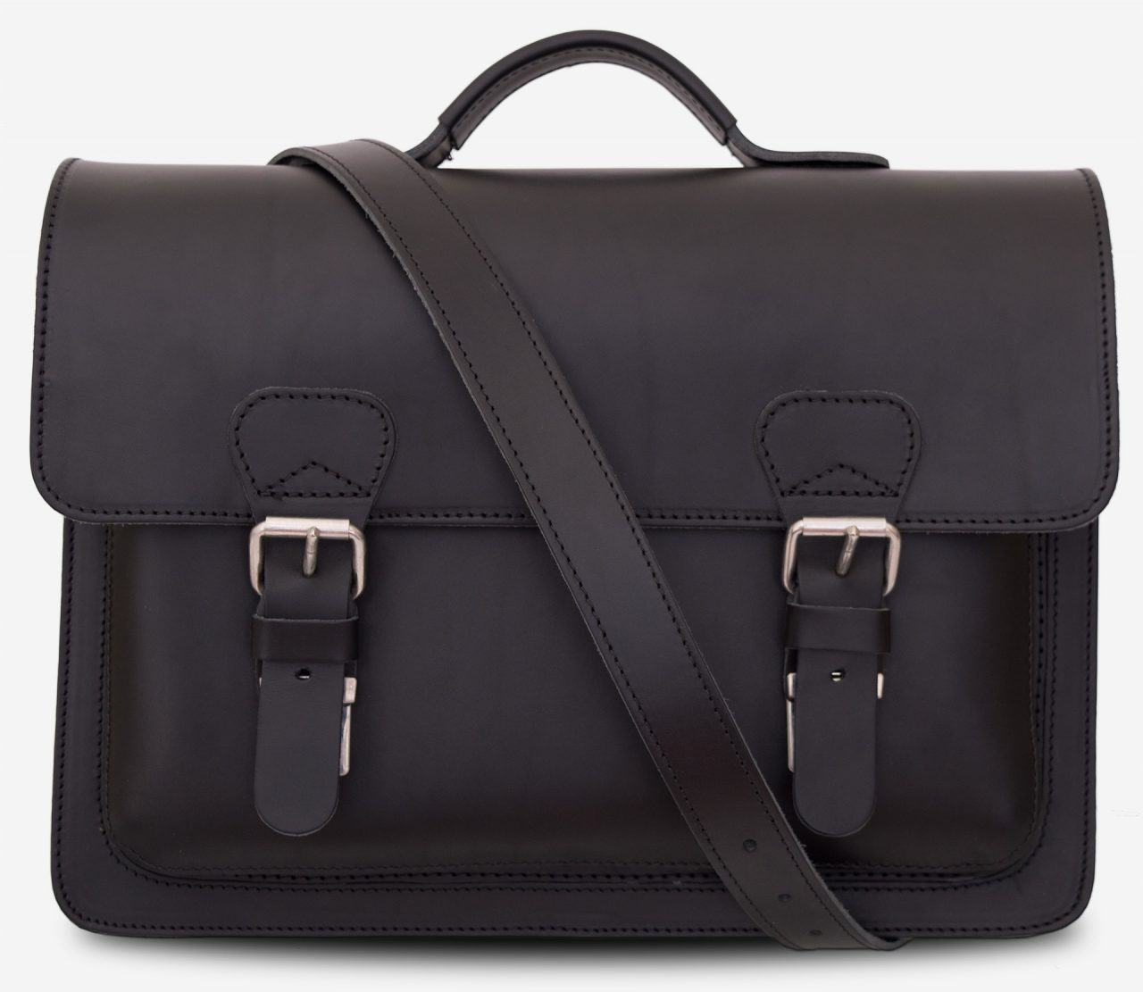 Front view of black leather briefcase with one compartment and a shoulder strap 112103.