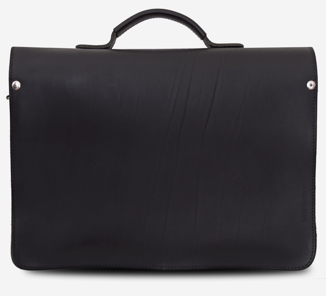 Back view of black leather satchel briefcase with front pockets 112131.