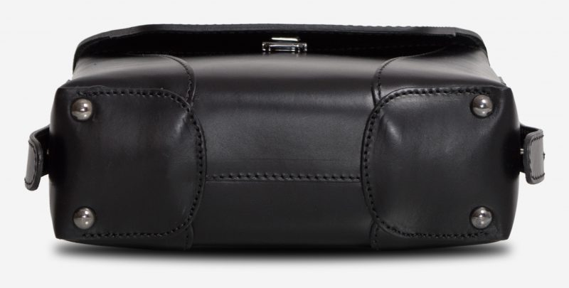 Bottom view of the small black vegetable-tanned leather crossbody bag.