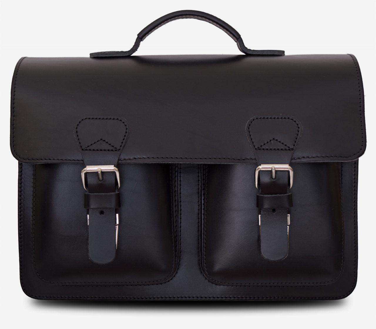 Front view black leather satchel briefcase with front pockets 112133.