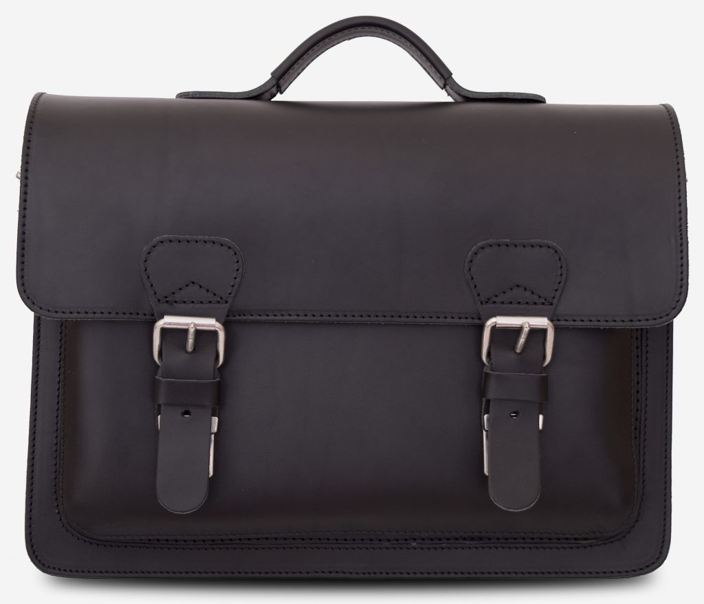 Front view of full-grain black leather briefcase with one compartment 112103.