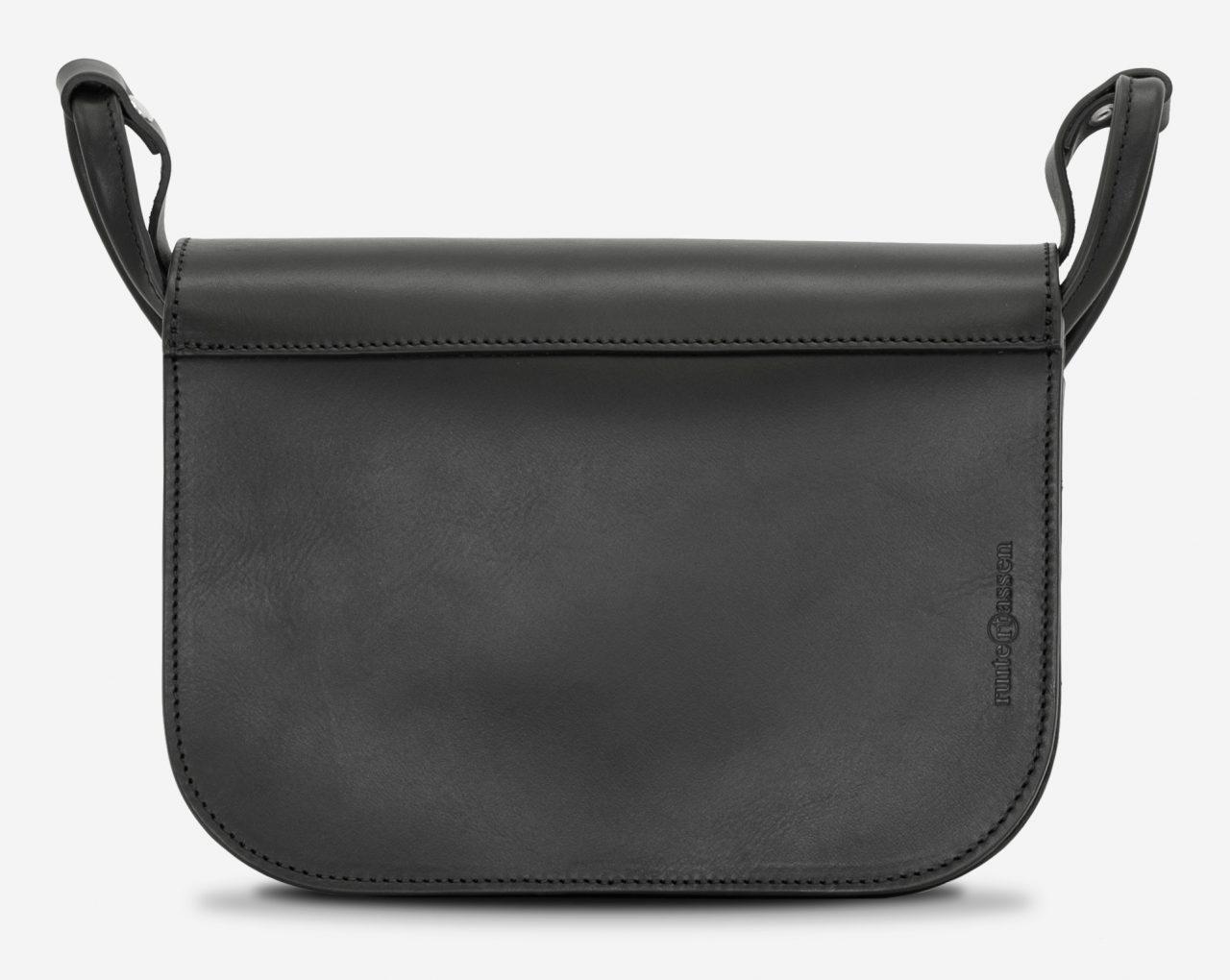 Back view of the large black leather shoulder bag for women.