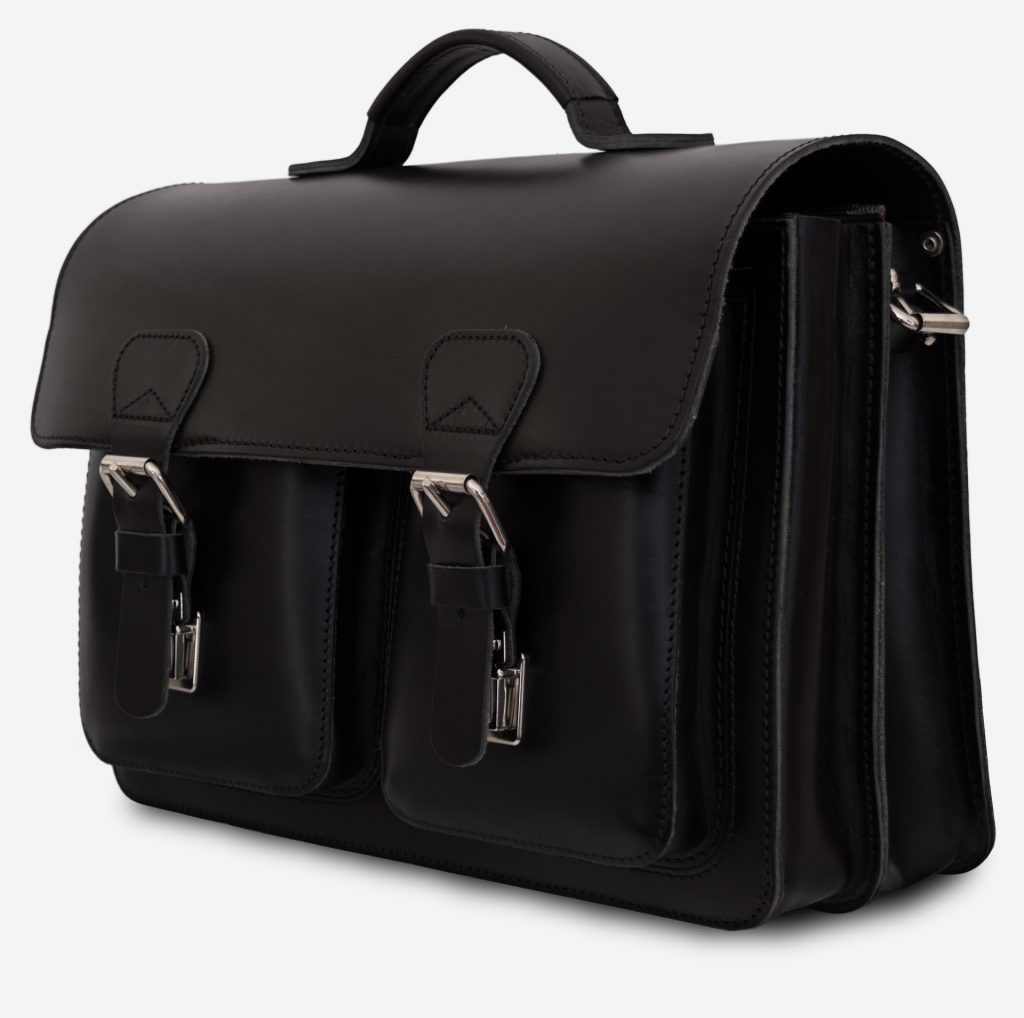 Side view of black leather satchel briefcase with front pockets 112133.