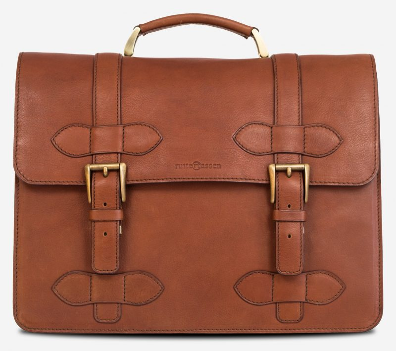 Front view of the handmade brown vegetable-tanned leather briefcase for men.
