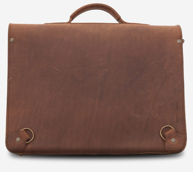 Back view of the student brown leather satchel with back straps hooks.