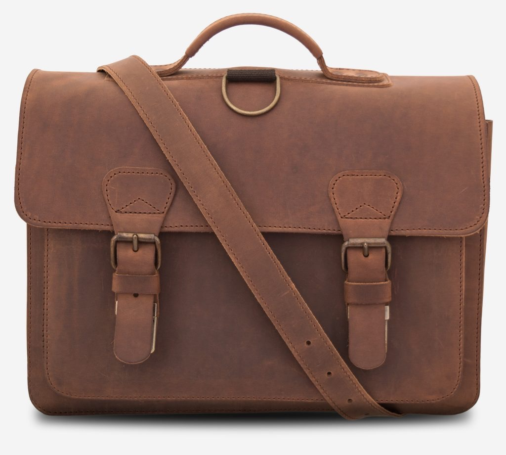 Front view of the 2 compartments student brown leather satchel with a leather shoulder strap.