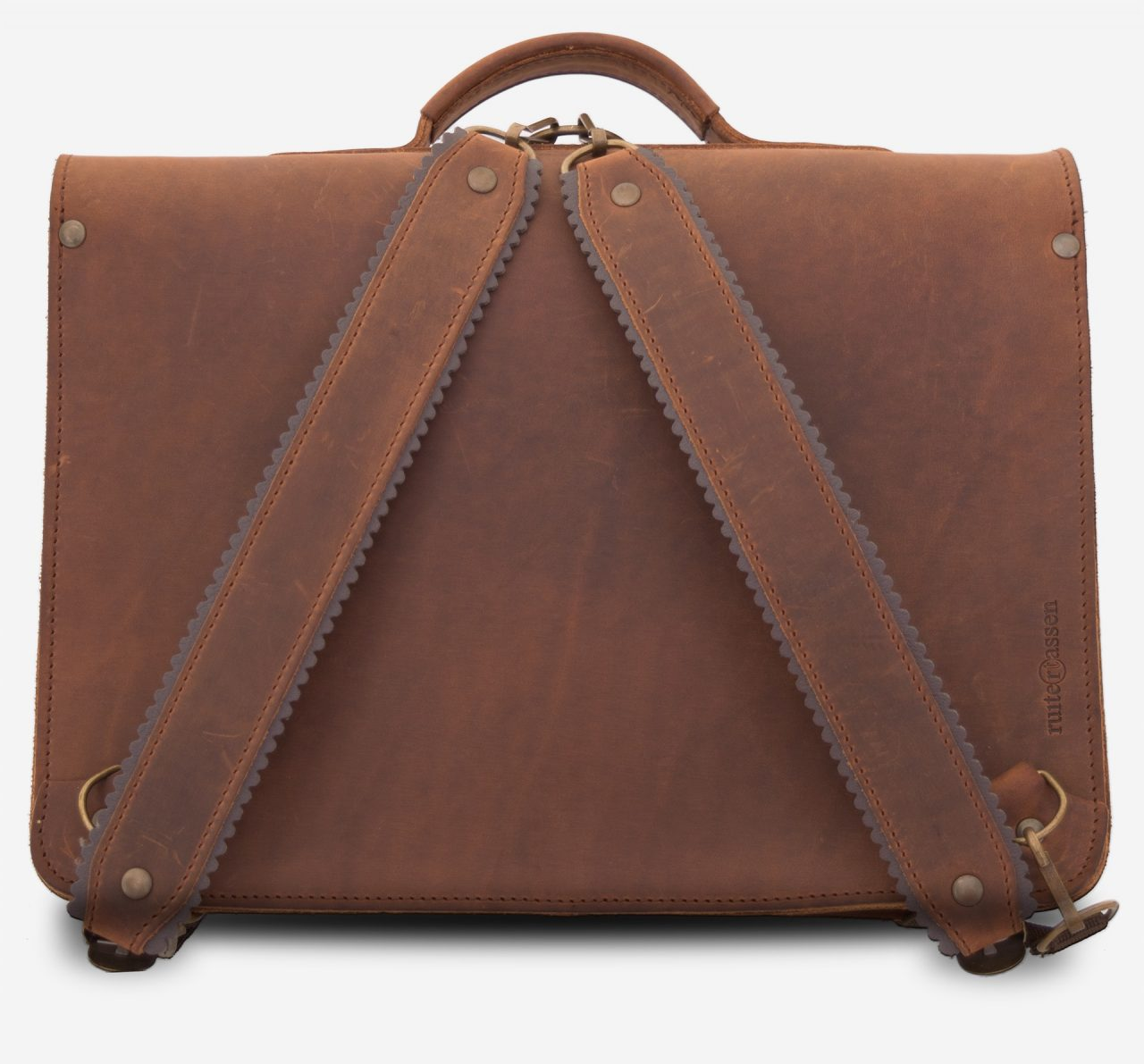 Back view of the student leather brown satchel fitted with back straps.