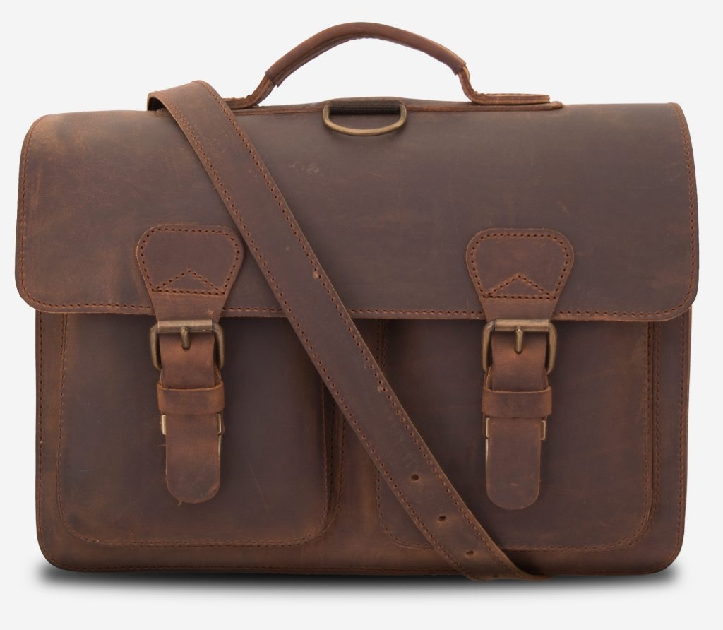 Front view of Professor brown leather satchel backpack with shoulder strap.