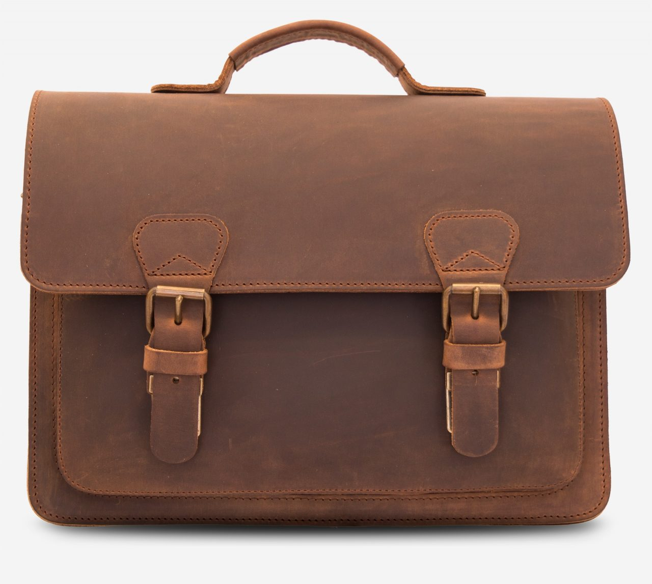 Front view of the vintage leather briefcase 732103.