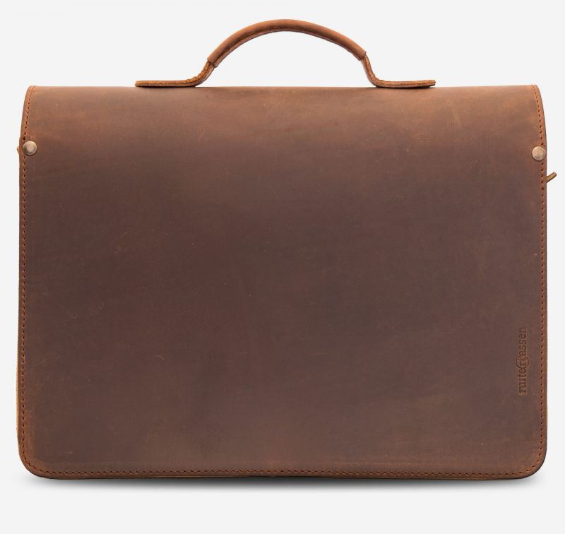 Back view of the brown leather briefcase.