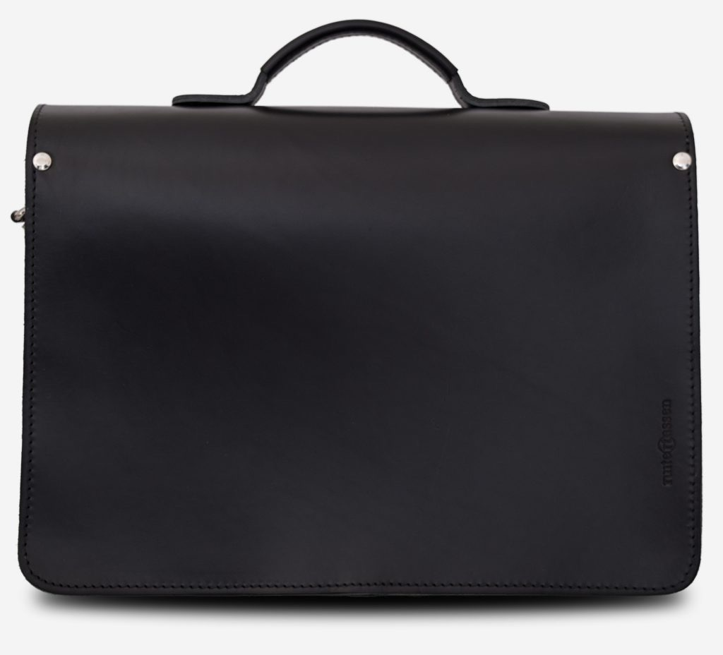 Back view of black leather satchel briefcase with front pockets 112133.