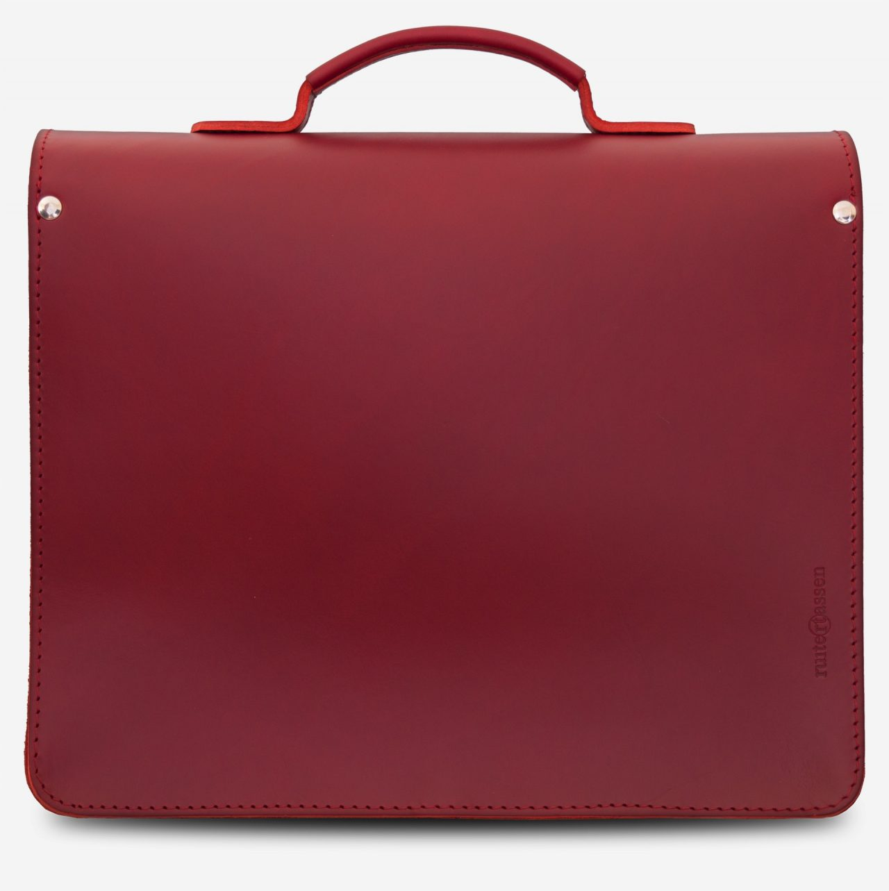 Back view of red leather briefcase with single compartment and large front pocket for women - 152141.