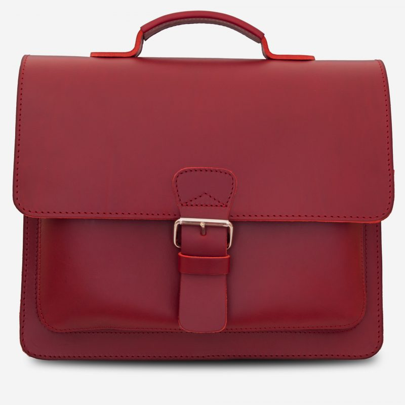 Front view of red leather briefcase with single compartment and large front pocket for women - 152141.