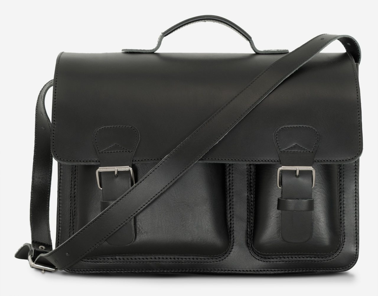 Front view of large black leather briefcase with 3 compartments and asymmetric front pockets 112142.