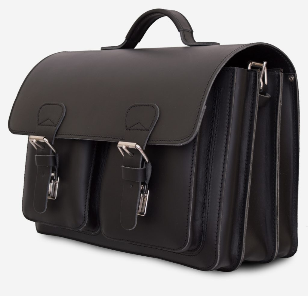 Front view of black leather satchel briefcase with 3 gussets and symmetric front pockets 112139.