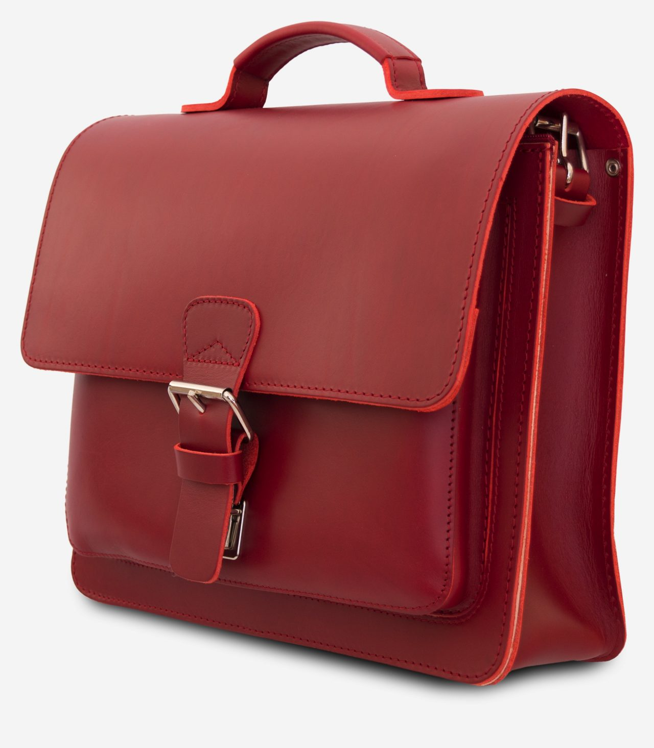 Side view of red leather briefcase with single compartment and large front pocket for women - 152141.