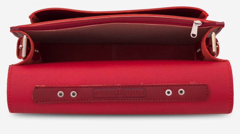 Inside view of red leather briefcase with single compartment and large front pocket for women - 152141.