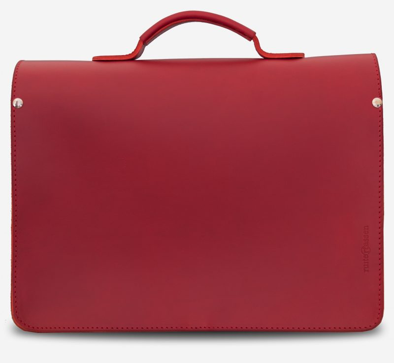 Back view of red leather briefcase bag with 1 compartment for women - 152103.