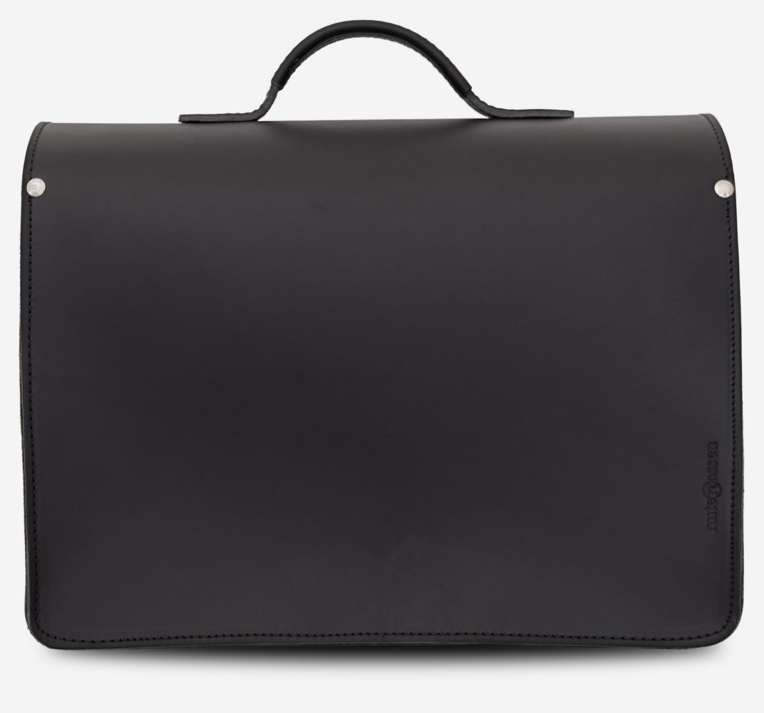 Back view of black leather briefcase with 1 compartment and large front pocket 112141.
