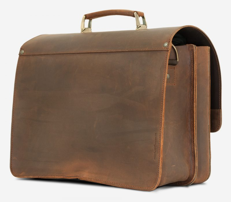 Back view of the vegetable-tanned brown leather satchel briefcase for doctors.