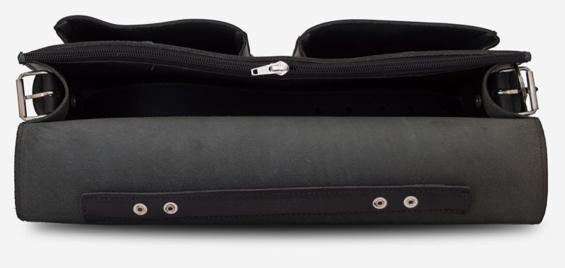 Inside view of black leather satchel briefcase with front pockets 112131.