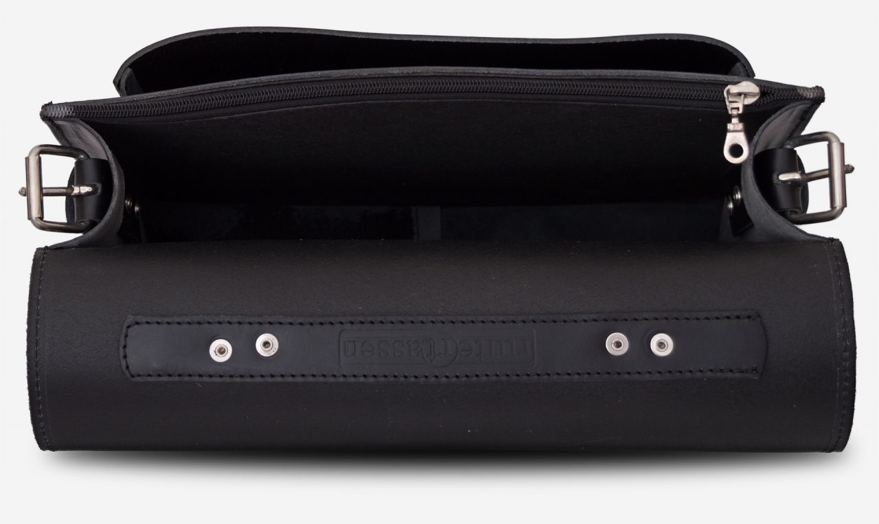 Inside view of black leather briefcase with 1 compartment and large front pocket 112141.