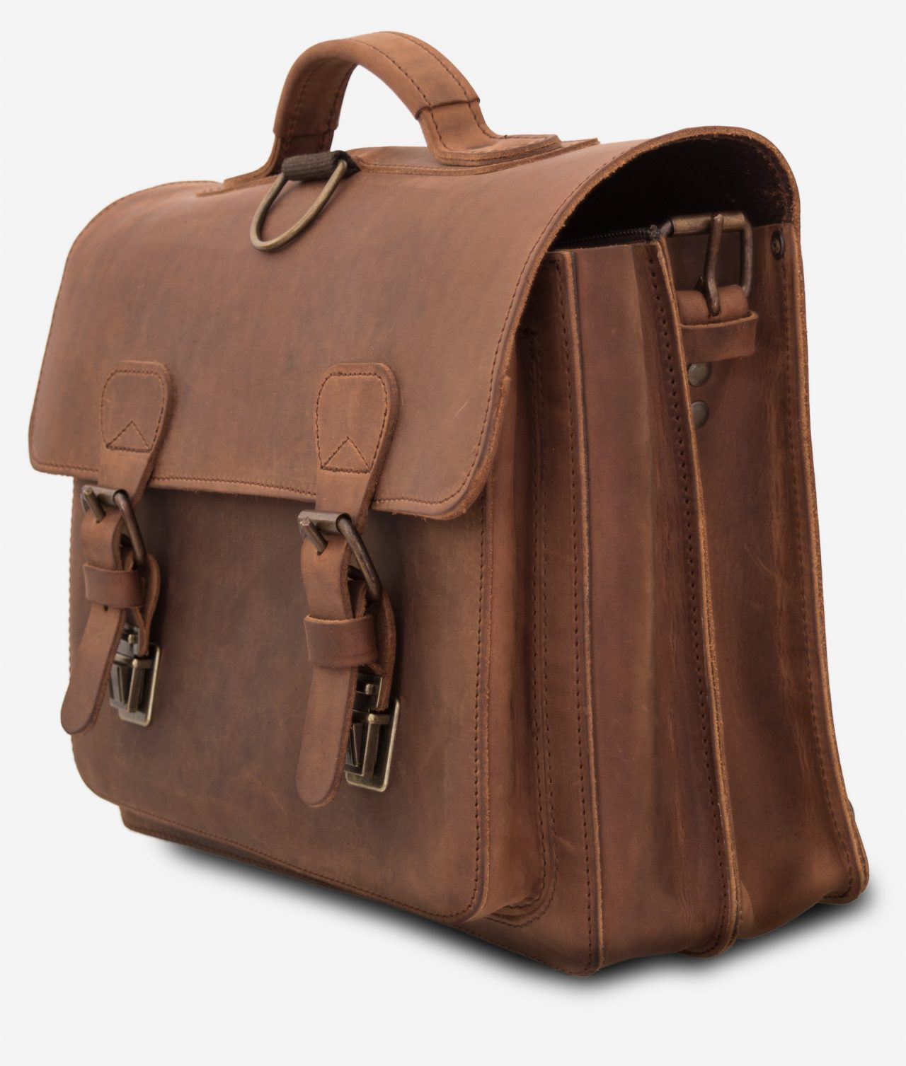 Side view of the student brown leather satchel with 2 compartments and 1 front pocket.