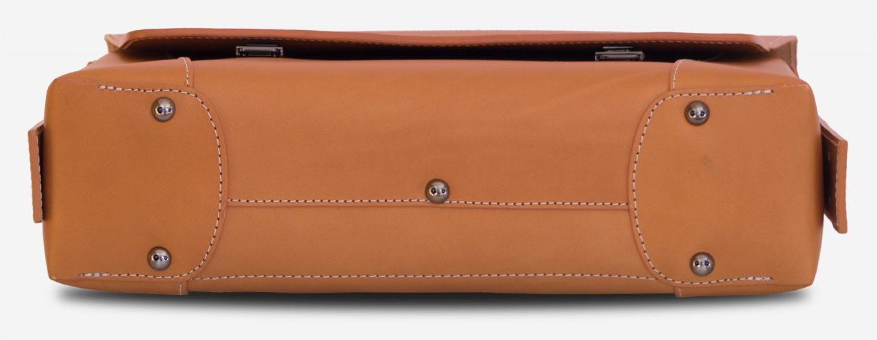 Below view of the vegetable tanned leather briefcase bag with laptop pocket - 102177.
