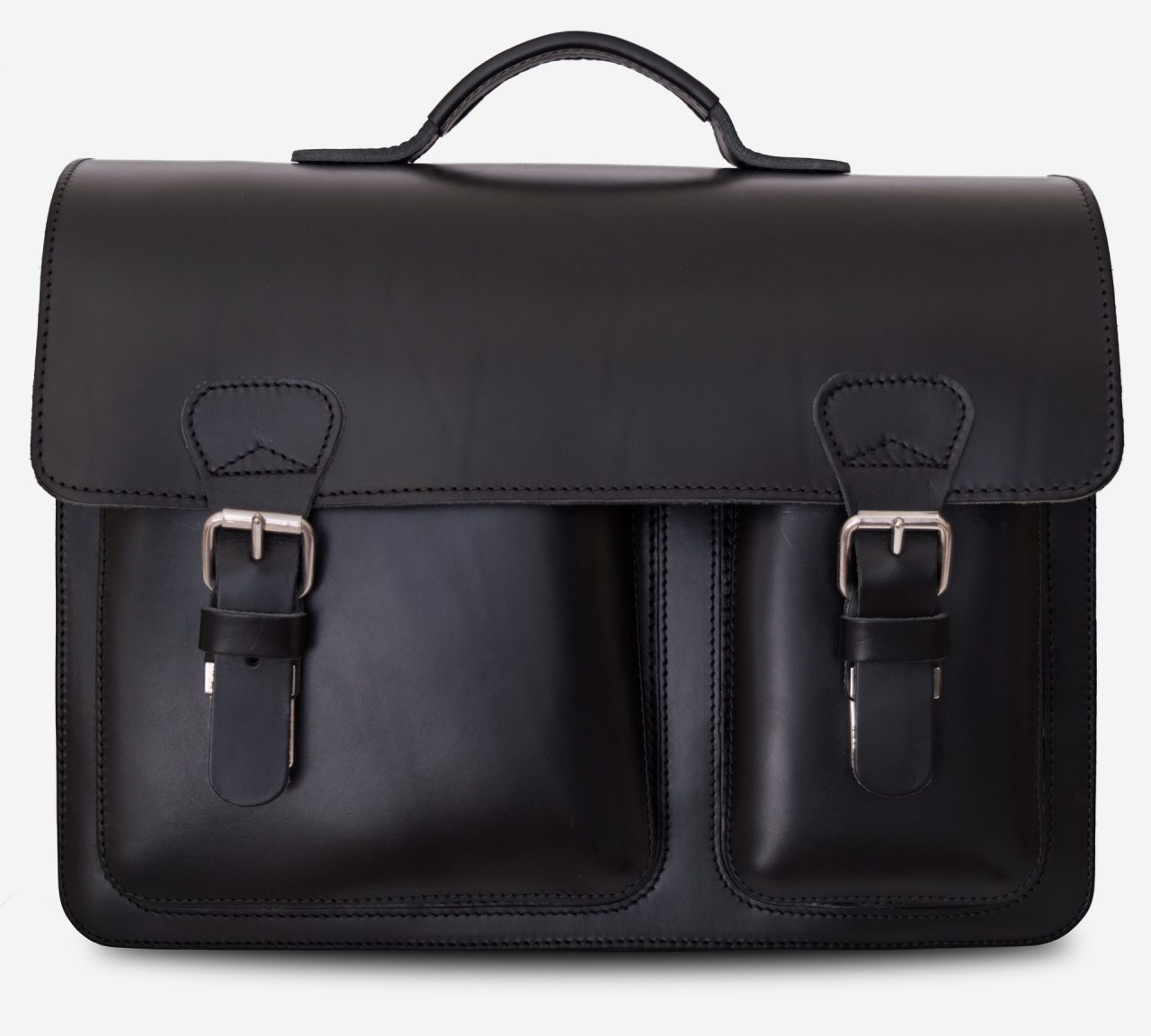 Front view of black leather laptop satchel bag with 3 gussets and asymmetric front pockets 112337.