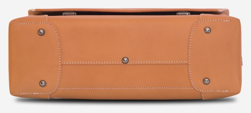 Below view of the large vegetable tanned leather briefcase bag with laptop pocket - 102178.