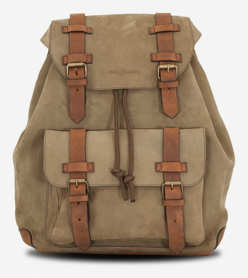 Front of the beautiful soft leather backpack.