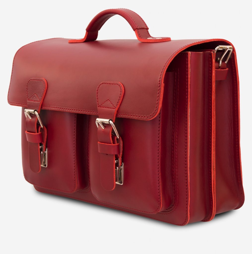 Side view of red leather satchel briefcase bag with 2 gussets for women - 152133.