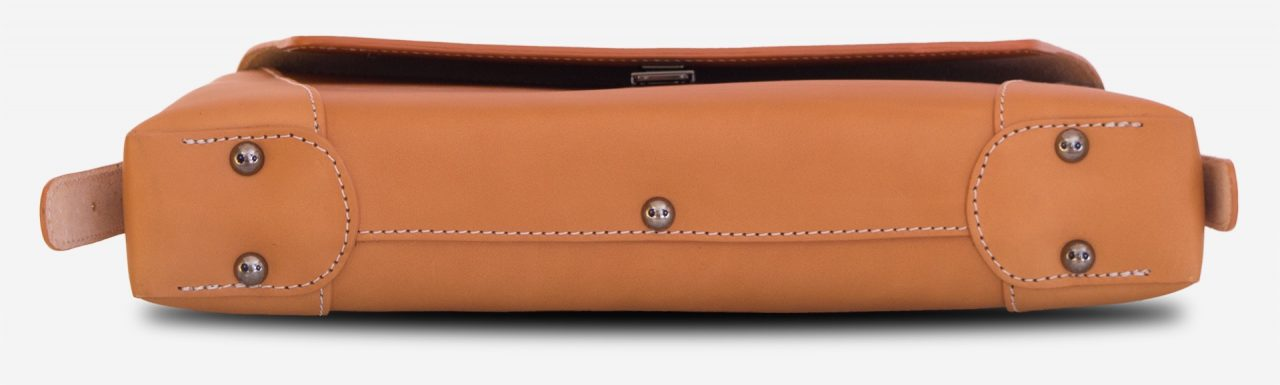 Below view of the vegetable tanned leather slim briefcase bag - 102176.