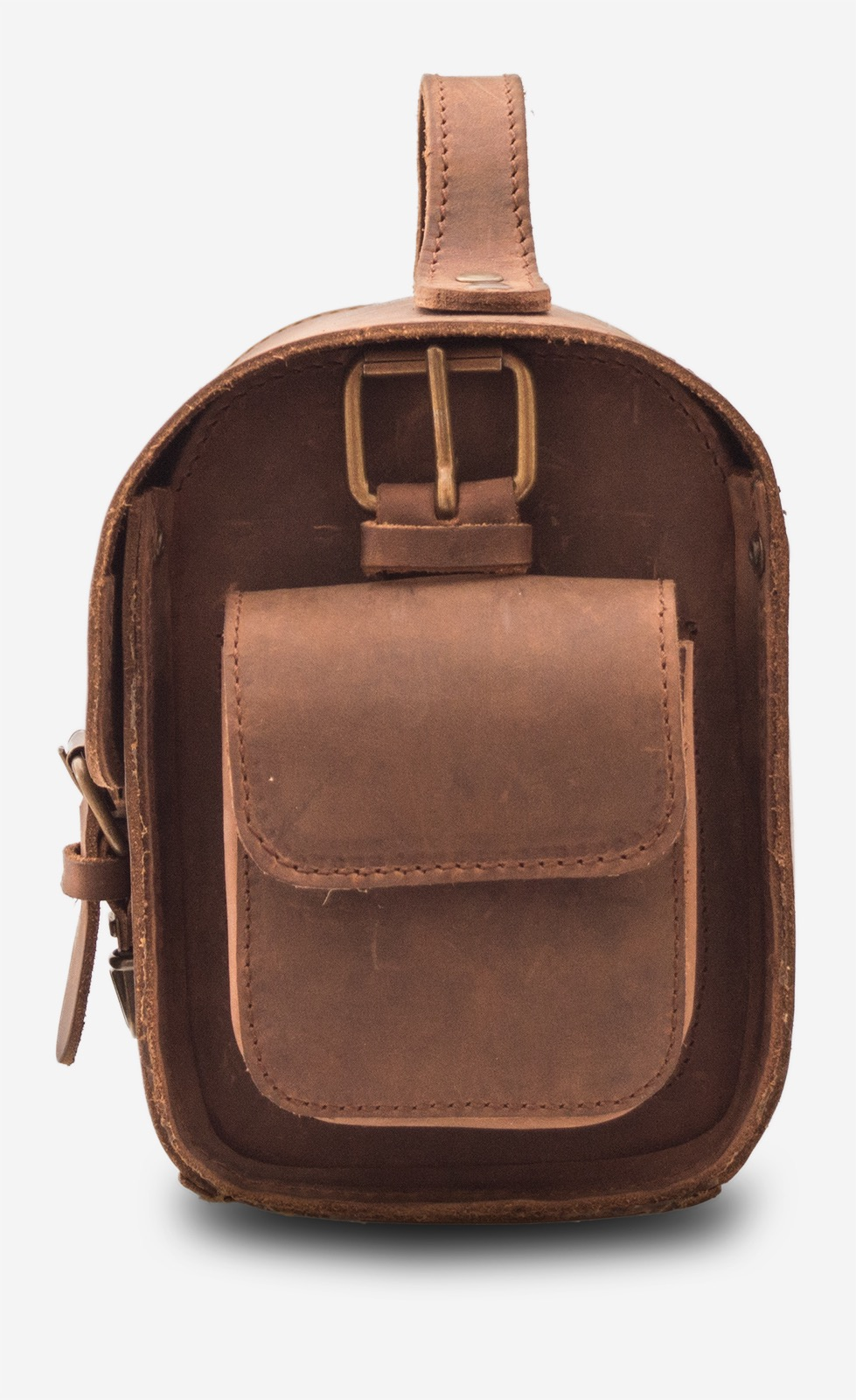 Side view of handmade brown leather camera bag 733104.