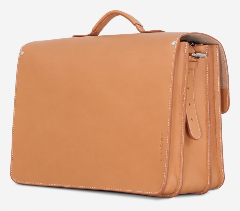 Back view of large tan leather satchel briefcase 102342.