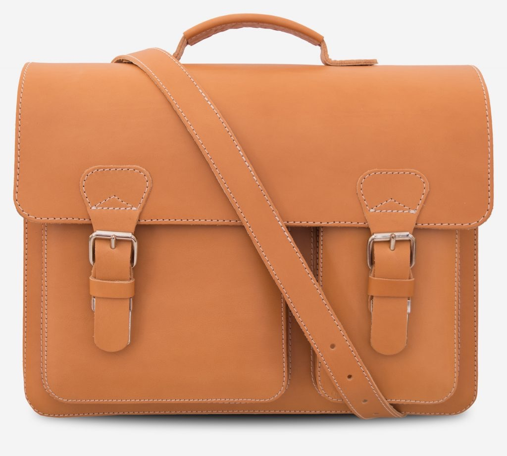 Front view of the tan leather satchel with leather shoulder strap