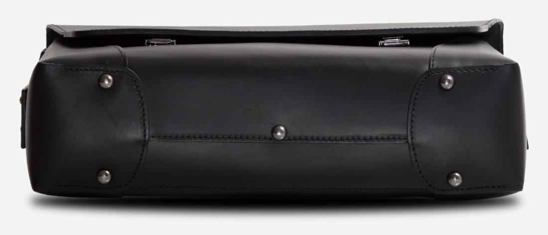 Below view of the black vegetable-tanned leather briefcase bag with laptop pocket.