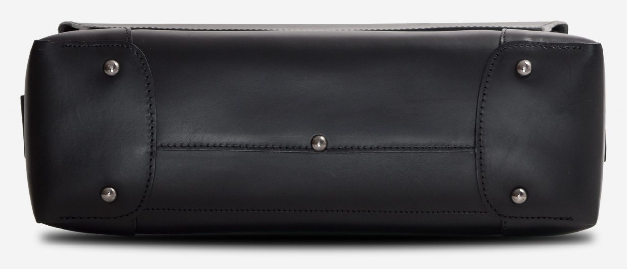 Bottom view of the large black vegetable-tanned leather briefcase bag with laptop pocket.