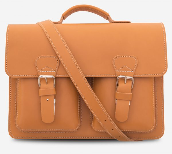 Front view of the tan leather satchel briefcase with a shoulder strap.