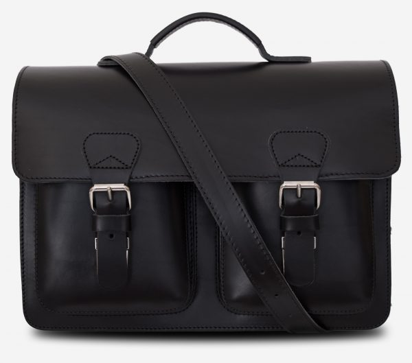 Front view of black leather satchel briefcase with front pockets and shoulder strap 112133.