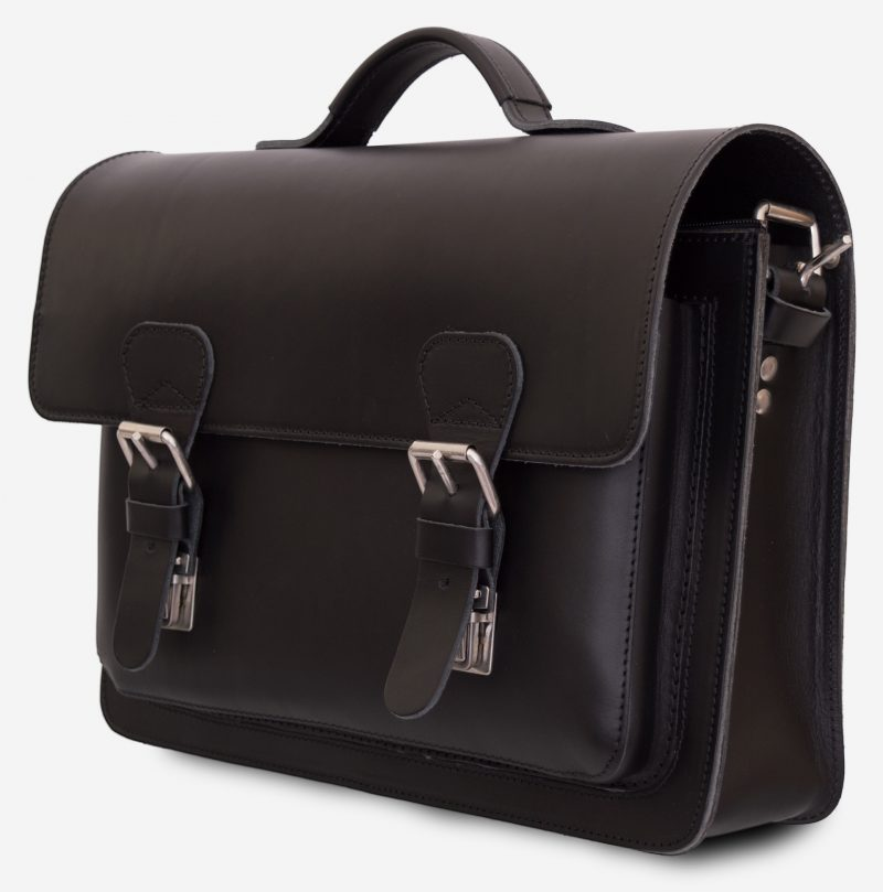 Front view of black leather briefcase with one compartment 112103.