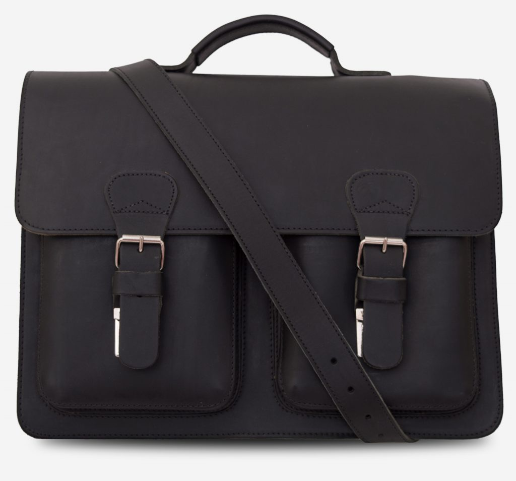 Front view of black leather satchel briefcase with front pockets and shoulder strap 112131.