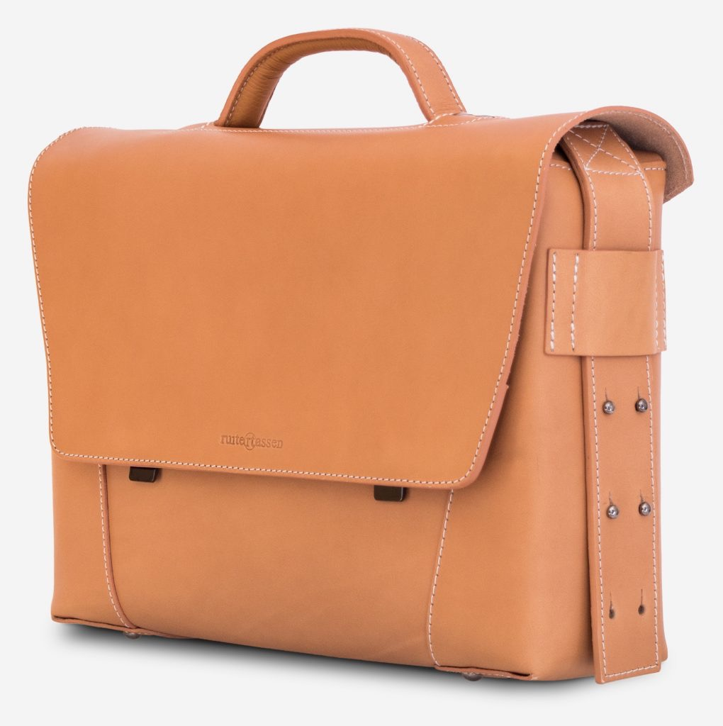 Side view of the vegetable tanned leather briefcase bag with laptop pocket - 102177.